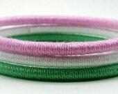 Preppy in Pastels - Light Pink, Mint Green and White - Set of (3) Bangle Bracelets