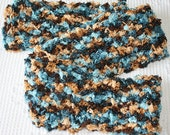 crocheted scarf in turquoise brown beige tan