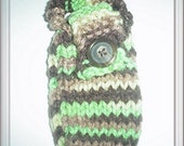 green brown camo cell phone cozy HAND KNIT
