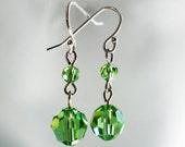Crystal Earrings Sterling Silver - Swarovski Peridot green Julianne - wedding, bride, anniversary gift, birthday, gift for friend, prom