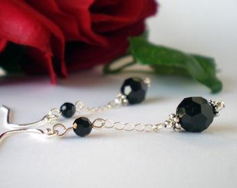 Crystal Earrings Sterling Silver - Jet Black Swarovski - Yasmin - Wedding Prom Birthday Anniversary Gift for Her Bridesmaids  FG67YA