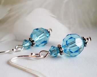 Crystal Earrings Sterling Silver Swarovski Aquamarine - Francesca - wedding prom mothers day gift for her office bride  FG22FR