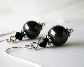 Black Pearl and Swarovski Crystal Sterling Pierced Earrings - In The Mood -