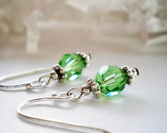 Peridot Swarovski Crystal and Sterling Silver Earrings - Isabel -