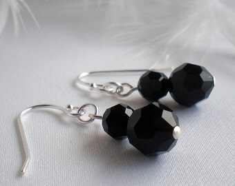 Crystal Earrings Sterling Silver - Jet Black Swarovski - Cheryl - birthday anniversary wedding bridesmaid prom gift for her  FG14CH
