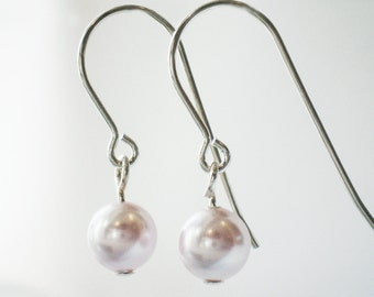 White Pearl Earrings Swarovski Sterling Silver - Young at Heart - Wedding Bride Flower Girl Anniversary Gifts for Her BB162YH