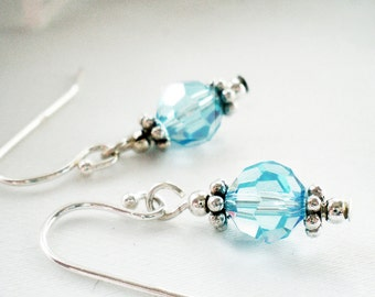 Aquamarine Swarovski Crystal and Sterling Silver Earrings - Isabel -