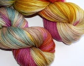 Hand dyed Worsted Weight Yarn 220 Yards Wool Wildflowers