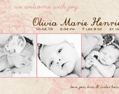 Vintage Rose- Custom Baby Birth Announcement