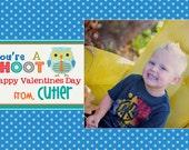 Hoot Owl Custom Valentines Day Card- Boy Or Girl