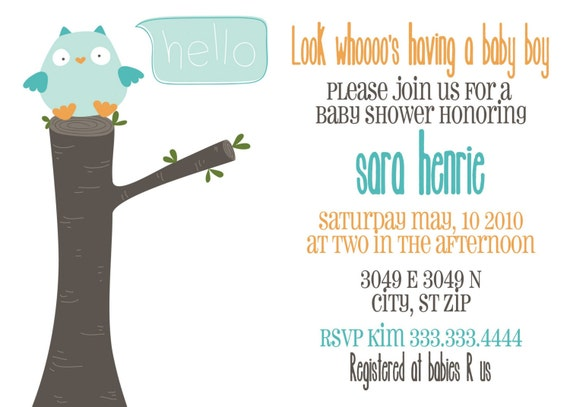 look whos having a baby- owl themed baby shower invitation- for BOY OR GIRL