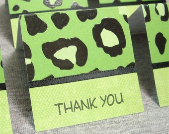 Green and Black Cheetah Print Mini Thank You Cards 2x2 (6)