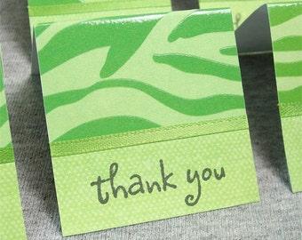 Green Zebra Print Mini Thank You Cards 2x2 (6)