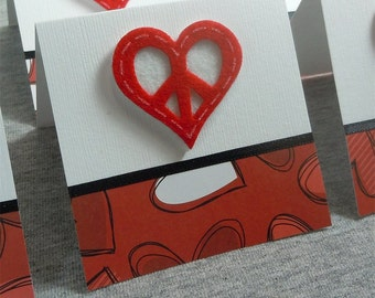 Peace Sign Heart Blank Note Cards 3x3 (6)