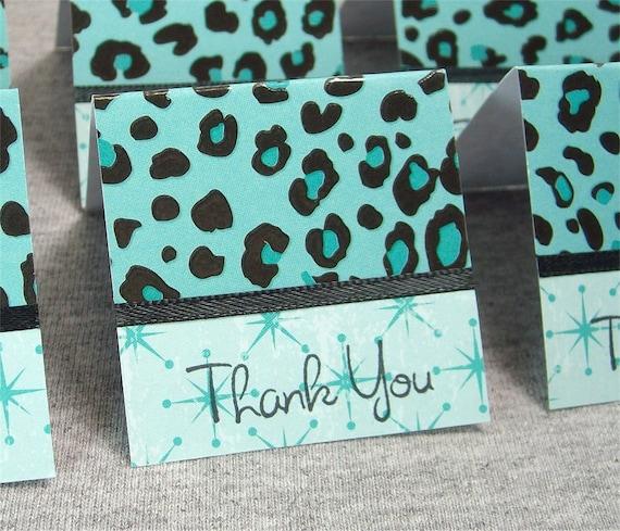 Teal and Black Cheetah Print Mini Thank You Cards 2x2 (6)