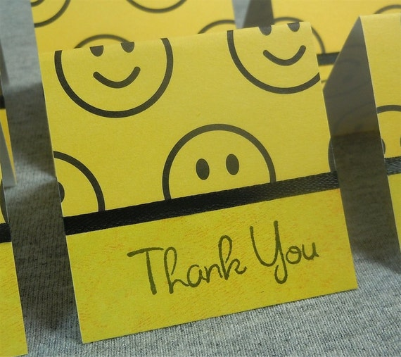 Yellow and Black Smiley Thank You Mini Cards 2x2 (6)