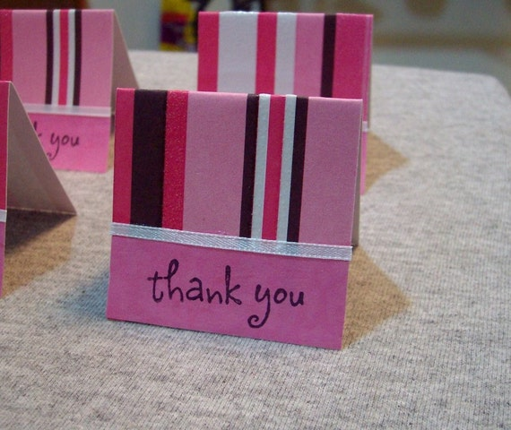 Pink and Brown Mini Thank You Cards