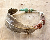 Feather Bracelet silver, turquoise and leather