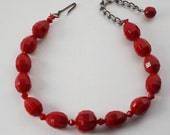 Red Glass Bead Choker Necklace marked Germany