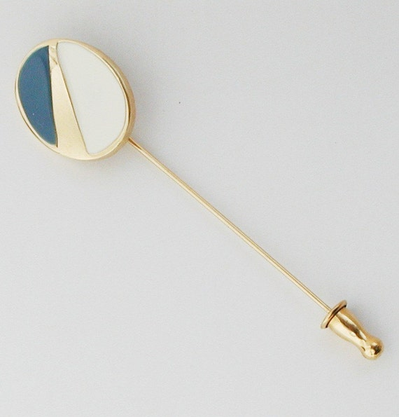 Monet Stick Pin Enamel Blue & White with Gold vintage