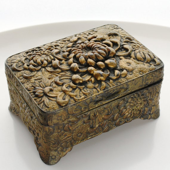 Vintage Jewelry Box Gold Toned Cast Metal with Floral Design