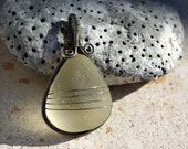CHAMPAGNE DROP wire wrapped seaglass pendant.