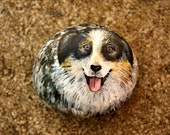 Australian Shepherd Dog hand painted sea stone.