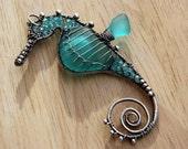 INTENSE AQUA seahorse wire wrapped seaglass pendant.