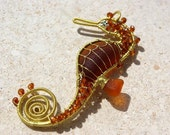 CARAMEL seahorse wire wrapped seaglass pendant.