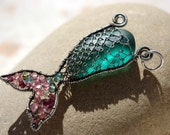 DEEP TEAL mermaids tail wire wrapped seaglass pendant.