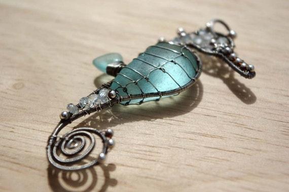 AQUA seahorse wire wrapped seaglass pendant.