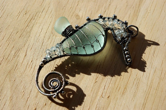 SALE. ICY BLUE seahorse wire wrapped seaglass pendant.