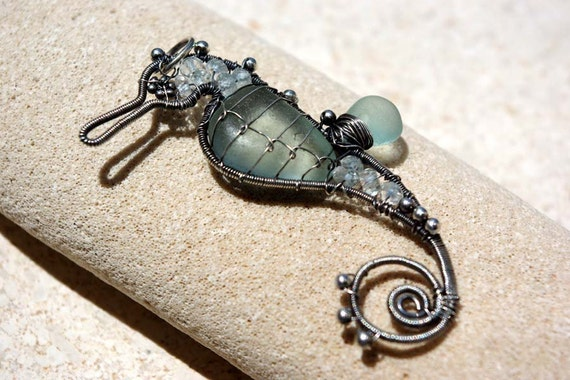 PALEST AQUA seahorse wire wrapped seaglass pendant.