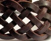 Mens Celtic Ocean Weave Spanish Leather Anklet -- Mens wristband