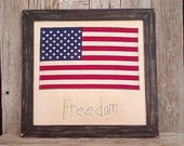 Country Rustic Freedom and Liberty Flag, Americana, 4th of July Decoration, Stars and Stripes, Military Gift, American Flag, Patriotic