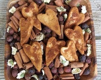 Rustic Saltdough Hearts,Grubby, Primitive, Bowl Filler, Potpourri Add in, Valentine, Heart, Decoration, Country Valentine, Fixins Add-in