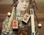 ON HOLD for staceymolli Mah Jong Only for Experts OOAK Earrings