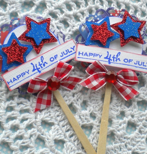 Sweet Lollipop Embellishments- Patriotic- Happy 4th of July- Red, White, and Blue