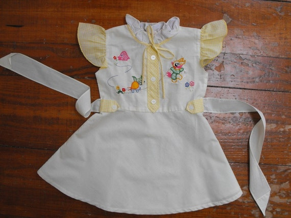 Vintage Little Girls' Easter Dress with Applique and Embroidery 18 months