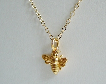 Tiny Gold Bee Necklace, Honey Bee, Bumble Bee on 14k Gold Filled Chain, Bee Jewelry, Mothers, Gift