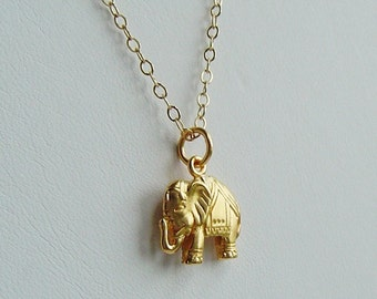 Lucky Elephant Charm 14K Gold filled Chain Necklace, Bridal Party, Bridesmaids, Mothers, Gift