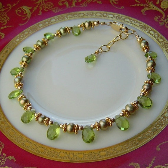 AAA Peridot Briolettes and Pearls Layering Bracelet with 14K Gold and 22K Bali Gold Vermeil