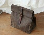 Dark Brown Waxed Canvas Lunch Bag