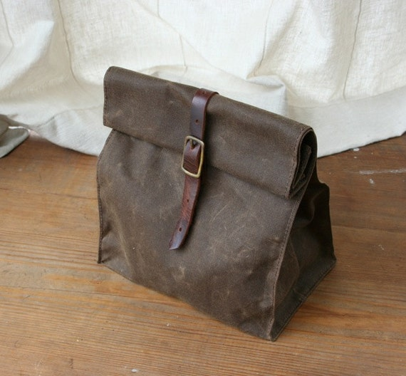 Dark Brown Waxed Canvas Lunch Bag
