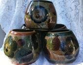 Vintage Tonala Mexican Hand Painted Pottery Mug