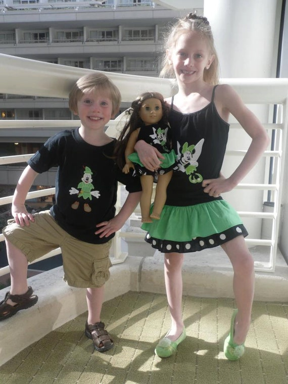 Minnie Tinkerbell and Mickey Peter Pan brother sister outfit