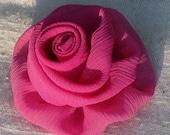 Pink rose hair clip - medium flower hair clip in soft fuchsia pink crinkle chiffon fabric
