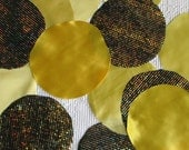 DESTASH fabric circle snippets, remnants for your crafts, 30 pieces, yellow satin and gold hologram dot print