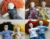 "Custom doll - design your own, 10"" cloth doll, you choose: skin, hair and eye colors, special features, clothes, accessories"