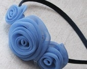 Fabric rose headband, with 3 handcrafted rosettes in cornflower blue chiffon, child size hair accessory
